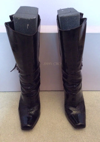Jimmy Choo Brown Crushed Patent Leather Calf Length Boots Size 5.5 /38.5 - Whispers Dress Agency - Womens Boots - 2