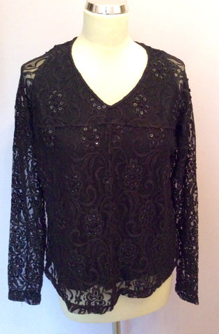 Verse Black Lace With Beads & Sequins V Neck Top - Whispers Dress Agency - Womens Tops - 1
