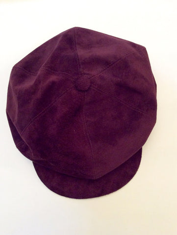 Brand New Jaeger Claret Suede Baker Boy Cap One Size - Whispers Dress Agency - Sold - 1