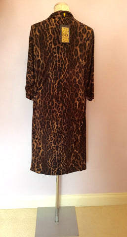 BRAND NEW BIBA BROWN LEOPARD PRINT COWL DRESS SIZE 16 - Whispers Dress Agency - Womens Dresses - 4