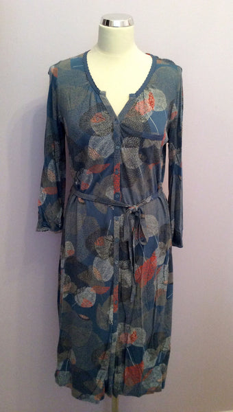 White Stuff Blue Print Button Front Tie Waist Dress Size 14 - Whispers Dress Agency - Womens Dresses - 1