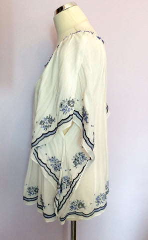 BRAND NEW MONSOON WHITE & BLUE EMBROIDERED TOP SIZE 18 - Whispers Dress Agency - Sold - 2