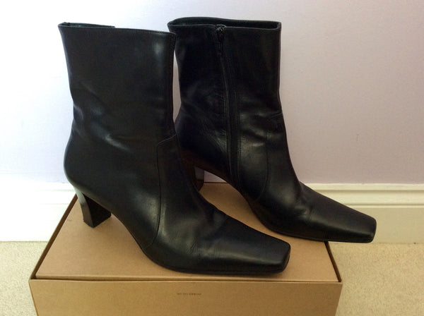 LK Bennett Black Leather Heeled Ankle Boots Size 8/42 - Whispers Dress Agency - Womens Boots - 1