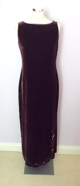 Austin Reed Dark Brown Velvet Beaded Sequin Dress Size 10 Whispers Dress Agency