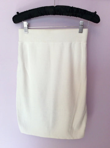 Vintage United Colours Of Benetton Winter White Cotton Knit Skirt Size M - Whispers Dress Agency - Womens Vintage