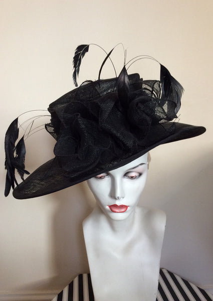 Black Feather & Flower Detail Wide Brim Formal Hat - Whispers Dress Agency - Womens Formal Hats & Fascinators - 1