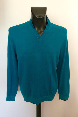 Ted Baker Turqouise V Neck Jumper Size 4 Approx M/L - Whispers Dress Agency - Mens Knitwear - 1