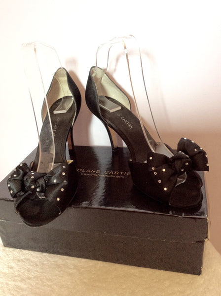 Roland Cartier Black Satin Diamante Bow Trim Peeptoe Heels Size 4.5/37.5 - Whispers Dress Agency - Sold - 1
