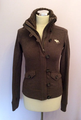 Abercrombie & Fitch Brown Zip & Button Fasten Cardigan Size S - Whispers Dress Agency - Womens Activewear - 3
