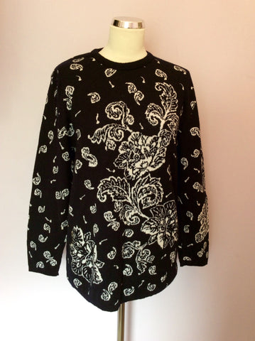 Vintage Jaeger Black & White Print Wool & Cotton Jumper Size M - Whispers Dress Agency - Womens Vintage - 1