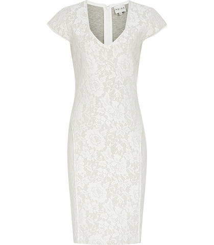 Brand New Reiss Cream Lace Jersey Dress Size 14 - Whispers Dress Agency - Womens Dresses - 1