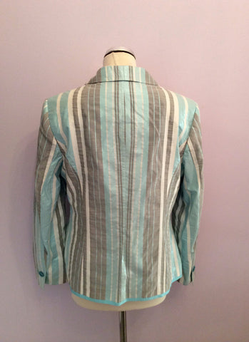Basler Turqouise, White & Grey Stripe Jacket Size 14 - Whispers Dress Agency - Womens Coats & Jackets - 3