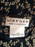Vintage Jaeger Black & Beige Silk Shift Dress Size 18 - Whispers Dress Agency - Sold - 4
