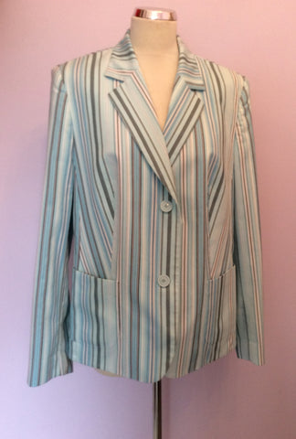 BASLER LIGHT AQUA BLUE,WHITE & DARK BLUE STRIPE COTTON JACKET SIZE 18 - Whispers Dress Agency - Womens Coats & Jackets - 1