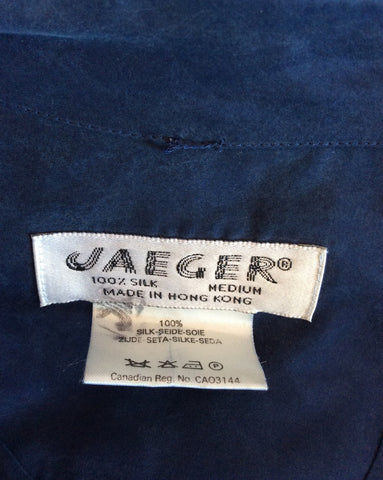 Vintage Jaeger Blue Silk Hooded Jacket Size M - Whispers Dress Agency - Womens Vintage - 3
