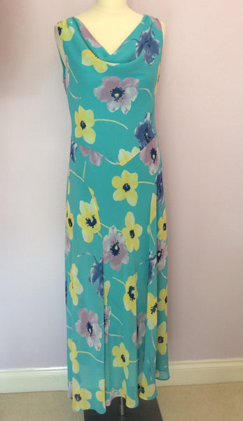 Country Casuals Turquoise Floral Print Long Dress Size 12 - Whispers Dress Agency - Womens Dresses - 1