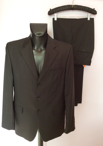 Austin Reed Kensington Black Pinstripe Wool Suit Size 40L/34L - Whispers Dress Agency - Mens Suits & Tailoring - 1