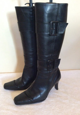 Bata Black Leather Buckle Trim Boots Size 5/38 - Whispers Dress Agency - Womens Boots - 2