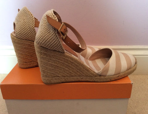 Brand New John Lewis Beige & White Stripe Wedge Heel Sandals Size 7.5/41 - Whispers Dress Agency - Womens Sandals - 4