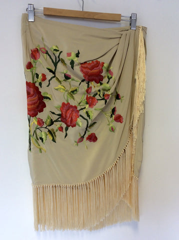 BRAND NEW POLO RALPH LAUREN CREAM SILK EMBROIDERED WRAP AROUND FRINGED SKIRT SIZE 8 UK 12 - Whispers Dress Agency - Sold - 1
