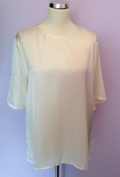 Vintage Jaeger Ivory Satin Blouse Size L - Whispers Dress Agency - Sold - 1