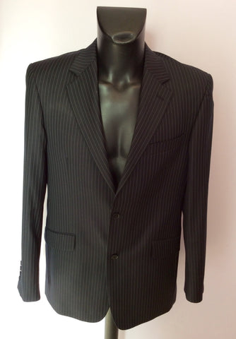 Racing Green Navy Blue Pinstripe Wool Suit Size 40L/ 34L - Whispers Dress Agency - Mens Suits & Tailoring - 2
