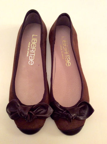 BRAND NEW LIBERITAE BROWN SUEDE & LEATHER BALLERINA FLATS SIZE 3.5/36 - Whispers Dress Agency - Womens Flats - 1