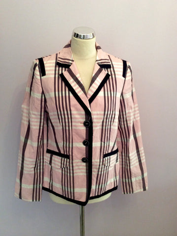 Basler Pink, White & Black Check Jacket Size 14 - Whispers Dress Agency - Womens Coats & Jackets - 1