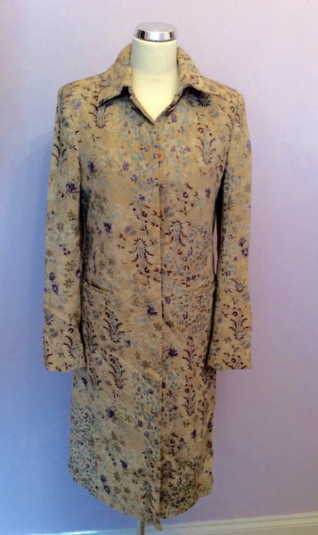 Coast Cream Floral Print Cotton Occasion Coat Size 12 - Whispers Dress Agency - Sold - 1
