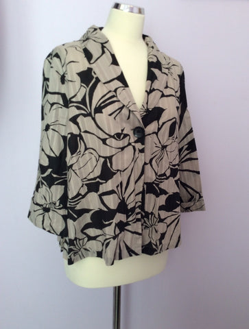 Adini Beige & Black Floral Print Cotton Skirt & Jacket Suit Size L2 UK 20 - Whispers Dress Agency - Womens Suits & Tailoring - 3