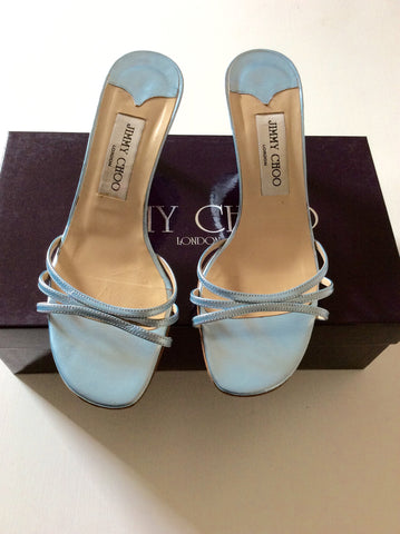 Jimmy Choo Light Blue Strappy Heeled Mule Sandals Size 4/37 - Whispers Dress Agency - Womens Heels - 1