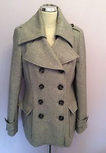 New York & Company Light Grey Double Breasted Wool Blend Jacket Size M - Whispers Dress Agency - Womens Coats & Jackets - 1