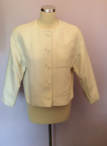 Vintage Jaeger Ivory Cotton Ribbed Box Jacket Size 10 - Whispers Dress Agency - Womens Vintage - 1