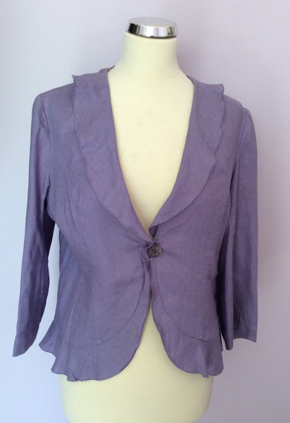 Country Casuals Lilac Linen Jacket Size 12 - Whispers Dress Agency - Womens Coats & Jackets - 1