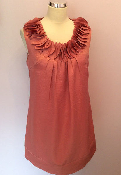 Salmon Pink Appliqué Neckline Shift Dress Size 10 - Whispers Dress Agency - Womens Dresses - 1