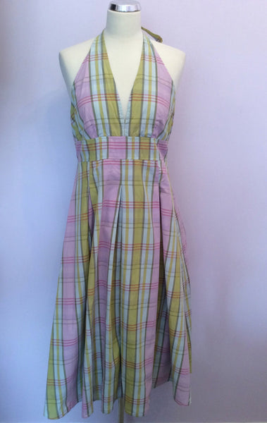 Joules Pink & Green Check Cotton Halterneck Dress Size 14 - Whispers Dress Agency - Womens Dresses - 1