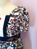 Laura Blue, Red & White Print Embroidered Tea Dress Size S - Whispers Dress Agency - Womens Dresses - 3