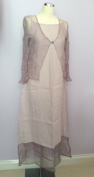 Allicano Pale Pink Silk & Linen Dress & Sheer Jacket Suit Size S - Whispers Dress Agency - Sold - 1