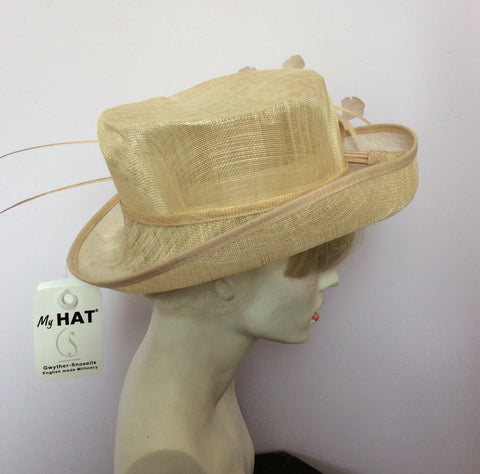 Snoxell Gwyther English Milinery Natural & Cream Formal Hat - Whispers Dress Agency - Womens Formal Hats & Fascinators - 3