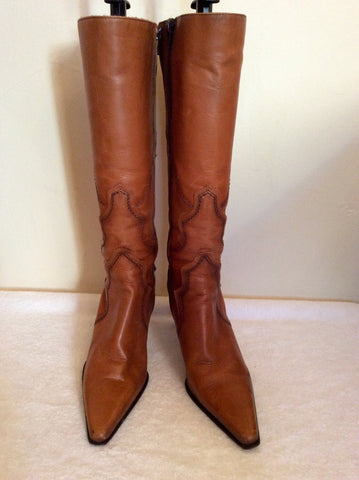 Bertie Tan Leather Slim Leg Boots Size 3.5/36 - Whispers Dress Agency - Womens Boots - 2