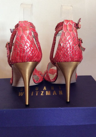 Brand New Stuart Weitzman Coral Pink & Gold Heel Sandals Size 5/38 - Whispers Dress Agency - Womens Sandals - 5