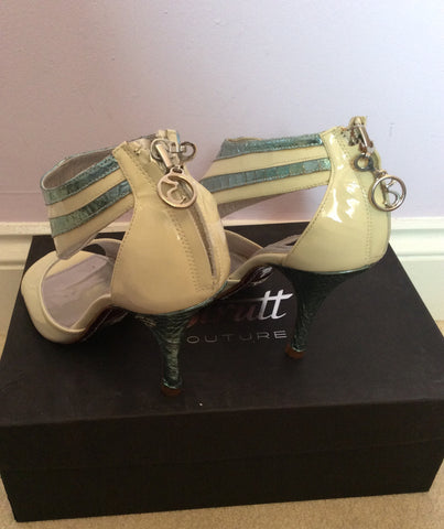 New In Box Strutt Couture Cream & Mint Patent Leather Heels Size 3/36 - Whispers Dress Agency - Womens Heels - 3