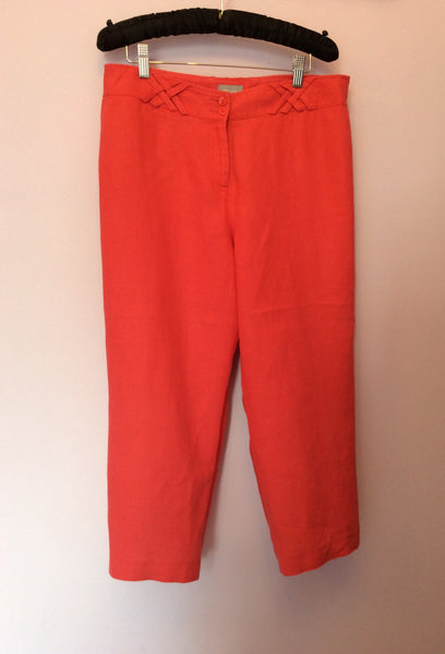 PER UNA CORAL LINEN CROP TROUSERS SIZE 14 REG - Whispers Dress Agency - Womens Trousers - 1