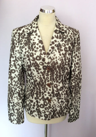 BETTY BARCLAY IVORY & BROWN PRINT JACKET SIZE 12 - Whispers Dress Agency - Womens Coats & Jackets - 1