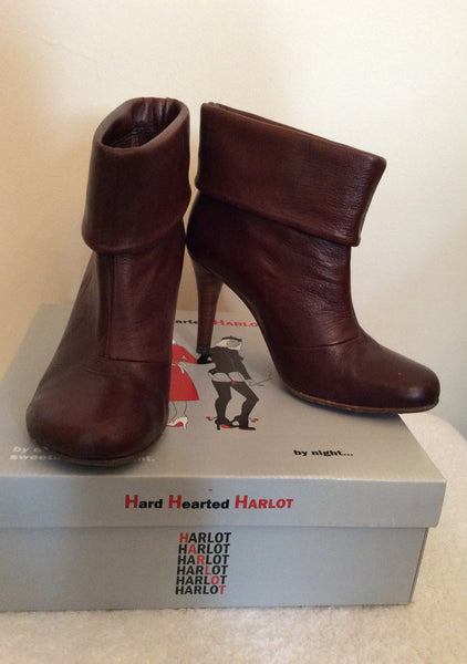 HARD HEARTED HARLOT RUBINO BROWN LEATHER ANKLE BOOTS SIZE 3.5/36 - Whispers Dress Agency - Womens Boots - 1