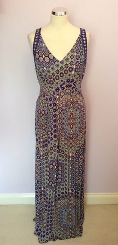 Brand New Monsoon Purple Print Maxi Dress Size 14 - Whispers Dress Agency - Sold - 1