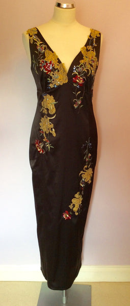 Planet Black Satin Embroidered Evening Dress Size 12 - Whispers Dress Agency - Sold - 1