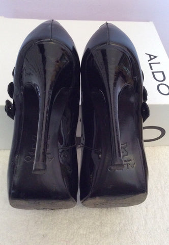 Aldo Black Patent Leather Peeptoe Mary Jane Heels Size 5/38 - Whispers Dress Agency - Womens Heels - 4