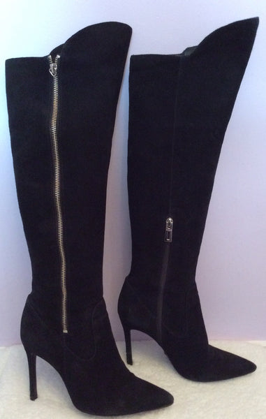 Schutz Black Suede Knee High Boots Size 5/38 - Whispers Dress Agency - Sold - 1