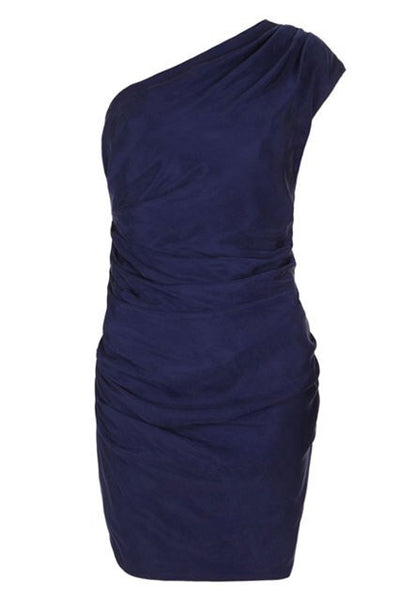 Brand New All Saints Blue Darcy Darwin One Shoulder Dress Size 14 - Whispers Dress Agency - Sold - 1